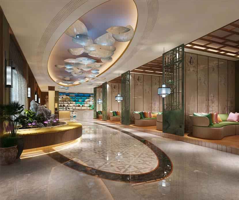 休闲会所大厅装修更大气化,给顾客心灵的舒缓